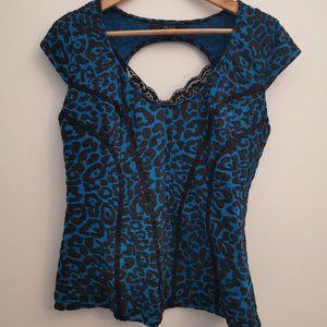 Guess Black and Blue Leopard Print Top